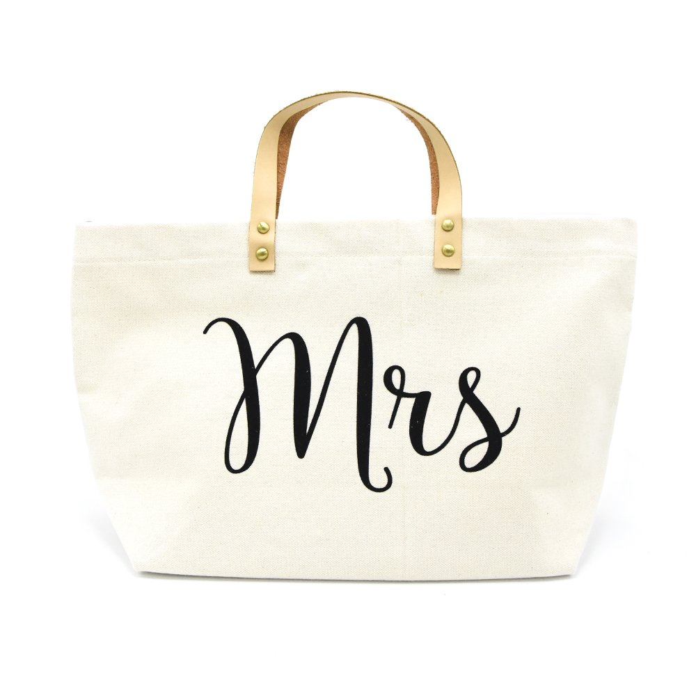 PumPumpz Personalized Gifts Wedding ''Mrs'' Canvas Tote Bag With Gold Box Package. (Black Mrs.)