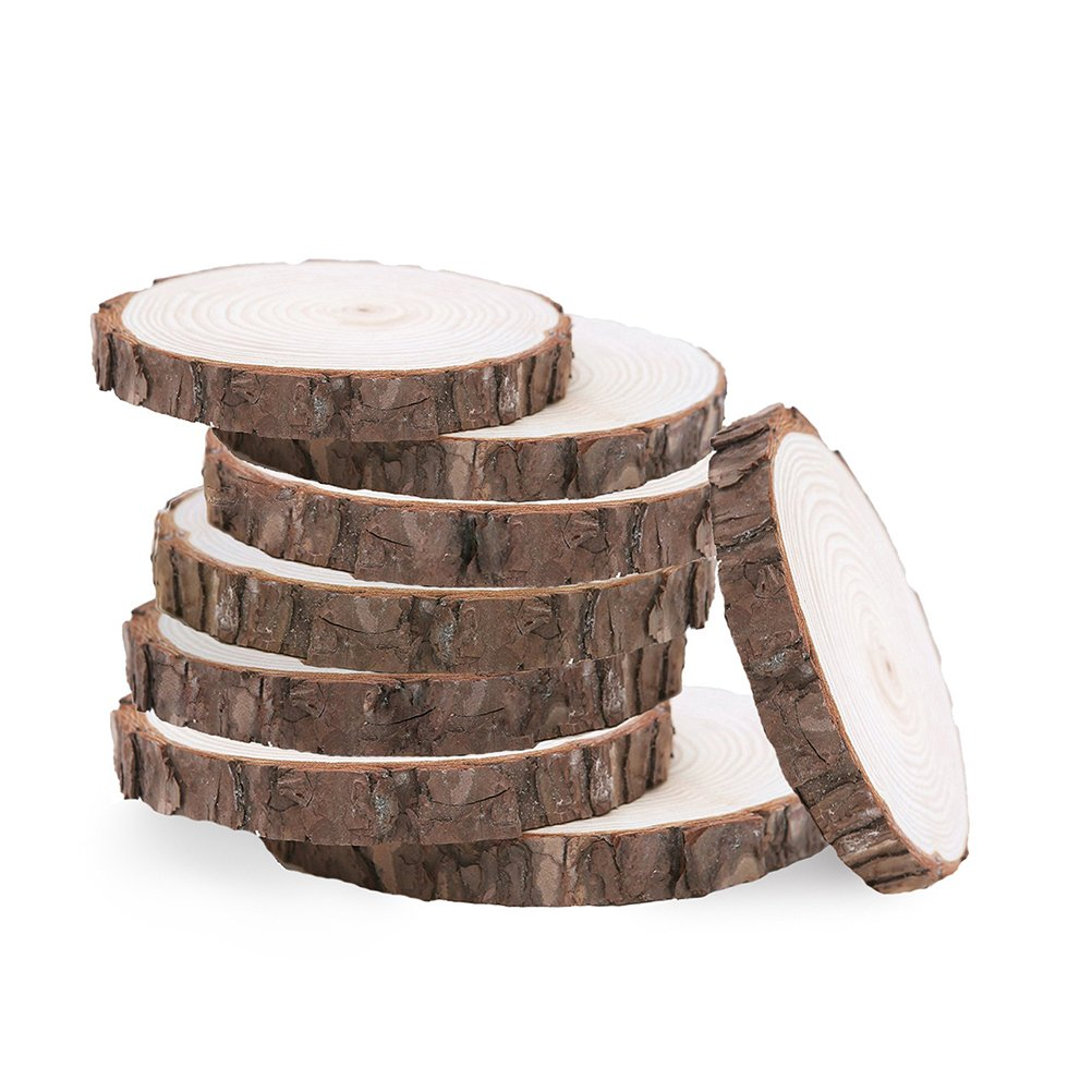 WINOMO 10pcs 9-10CM Wood Log Slices Discs Wooden Craft Embellishment for DIY Crafts Wedding Centerpieces