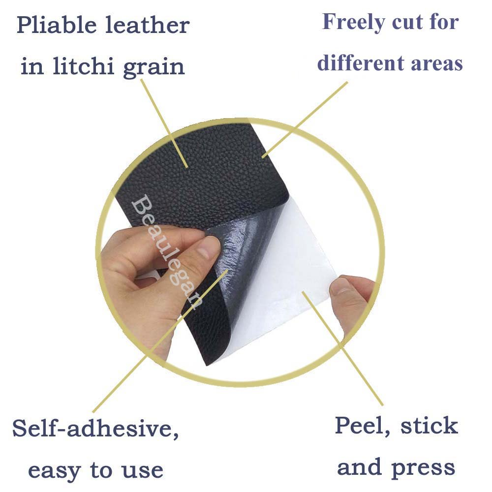 Leather Repair Patch - Self-Adhesive for Sofa Car Seats and Bags, 8 Inch by 4 Inch, Litchi Grain & Grey - by Beaulegan