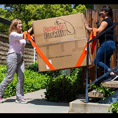 Forearm Forklift Lifting and Moving Straps for Furniture, Appliances, Mattresses or Heavy Objects up to 800 Pounds 2-Person, Made in USA, Orange, Model L74995 by Forearm Forklift (Image #3)