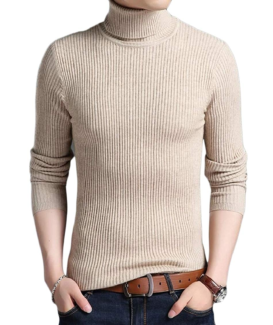 Hokny TD Mens Winter Turtleneck Sweater Solid Slim Fit Knitted Pullover Sweaters