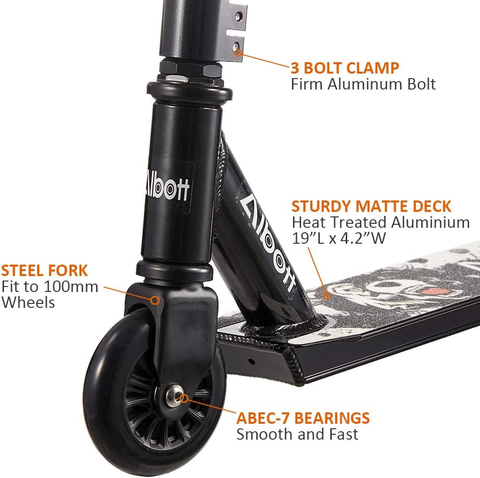 Albott Pro Stunt Scooter Complete Trick Scooters Aluminum Entry Level Freestyle Kick Scooters for Kids 8 Years and Up, Boys, Children, Teens