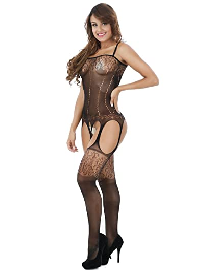 Lemongirl Mujer Moda escarpada ropa interior negra babydoll Crotchless One tamaño libre BabyDoll ropa interior mono