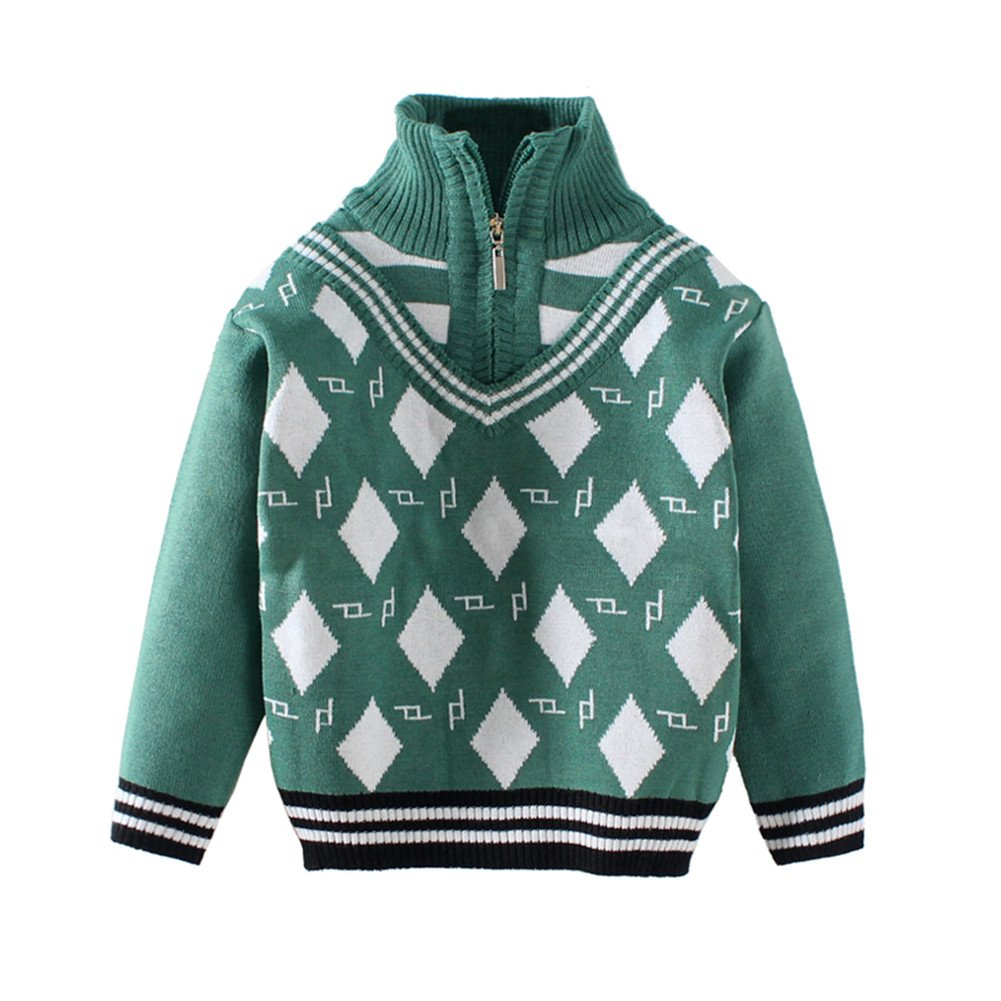 Mud Kingdom Toddler Boys Classic Argyle Quarter-Zip Sweaters Long Sleeve ZS0171