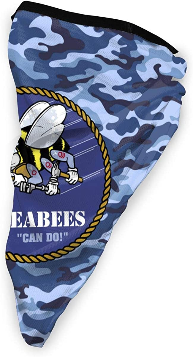 US Navy Seabees Outdoor Face Mouth Mask Windproof Sports Mask Ski Mask Shield Scarf Bandana Men Woman
