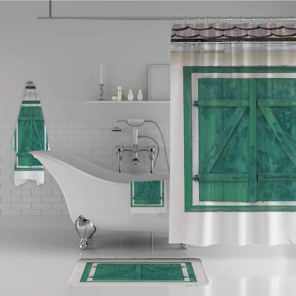 iPrint Bathroom 4 Piece Set Shower Curtain Floor mat Bath Towel 3D Print,Window and Shutters Image Traditional Countrside,Fashion Personality Customization adds Color to Your Bathroom.
