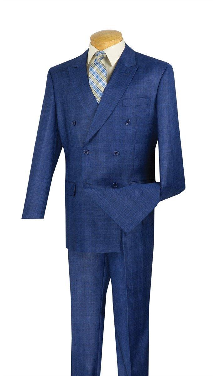 SUITS OUTLETS Double Breasted Men's Classic Fit Suit Glen Plaid