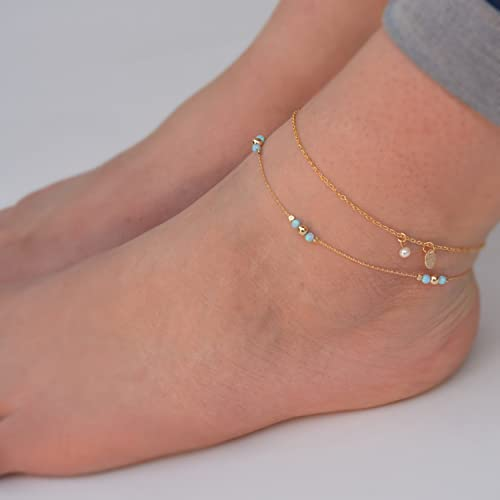 gold pin minimal anklet bead dainty filled