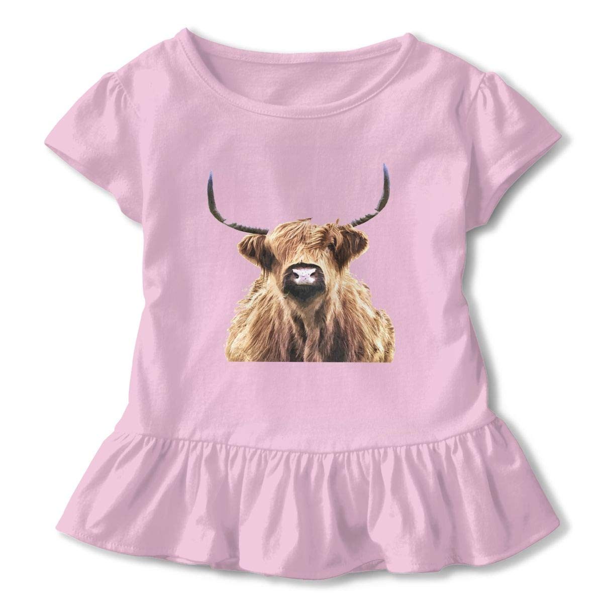 QUZtww Highland-cow-portrait905836-curtains Cute Adorable Printed Patterns Basic Ruffle Tee Shirts with Short Sleeves and O-Neck for Daily Party School Outside Playing Pink