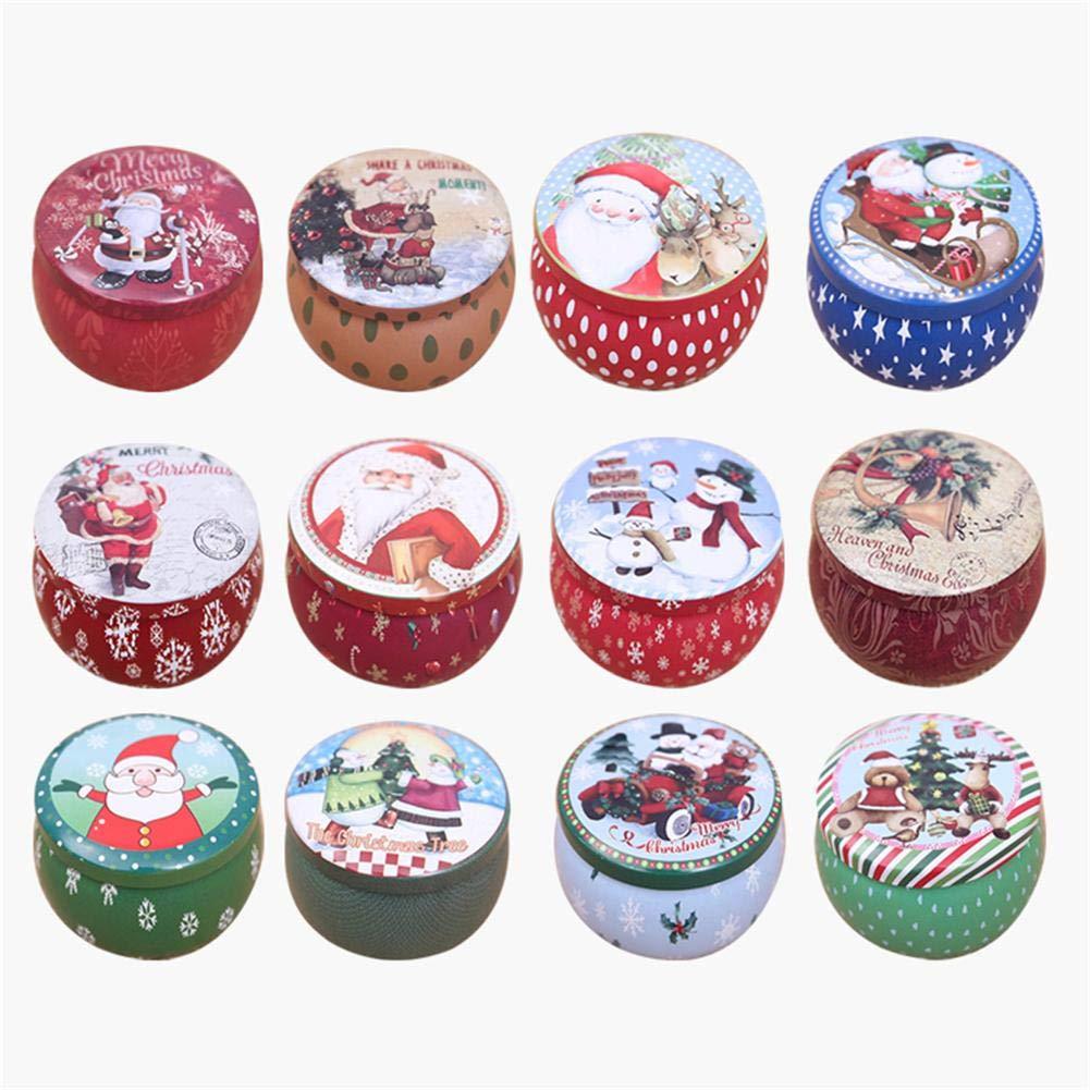 hutiee Set de 4/8/12 cajas para caramelos de Navidad Mini caja de almacenaje de metal de hojalata, redonda Retro cajas de regalo, multicolor para galletas bolsa de caramelos Candy Box Hutiee-123