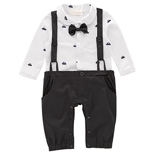 f2b617454 Amazon.com  FIZUOXVE Baby Boy Party Long Sleeve Bowtie Suspender ...