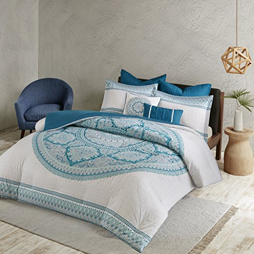 Urban Habitat Coletta Teen Girls Duvet Cover Set King/Cal King Size - Teal, Bohemian Medallion - 7 Piece Duvet Covers Bedding Sets - 100% Cotton Girls Bedding Bed Sets