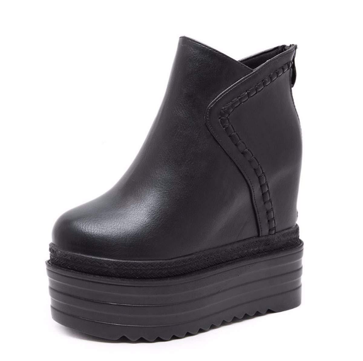 HBDLH Damenschuhe Mode Slope Ferse Mit Hohen 13Cm Kurze Stiefel Dicke Boden - Super - High - Heels Nachtclubs Hohe Stiefel.