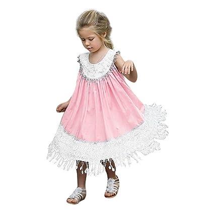 8db18fcc45 Gufenban Baby Girl Pageant Flower Girl Dress Kids Fancy Wedding Bridesmaid  Gown Formal Tassel Irregular Hem