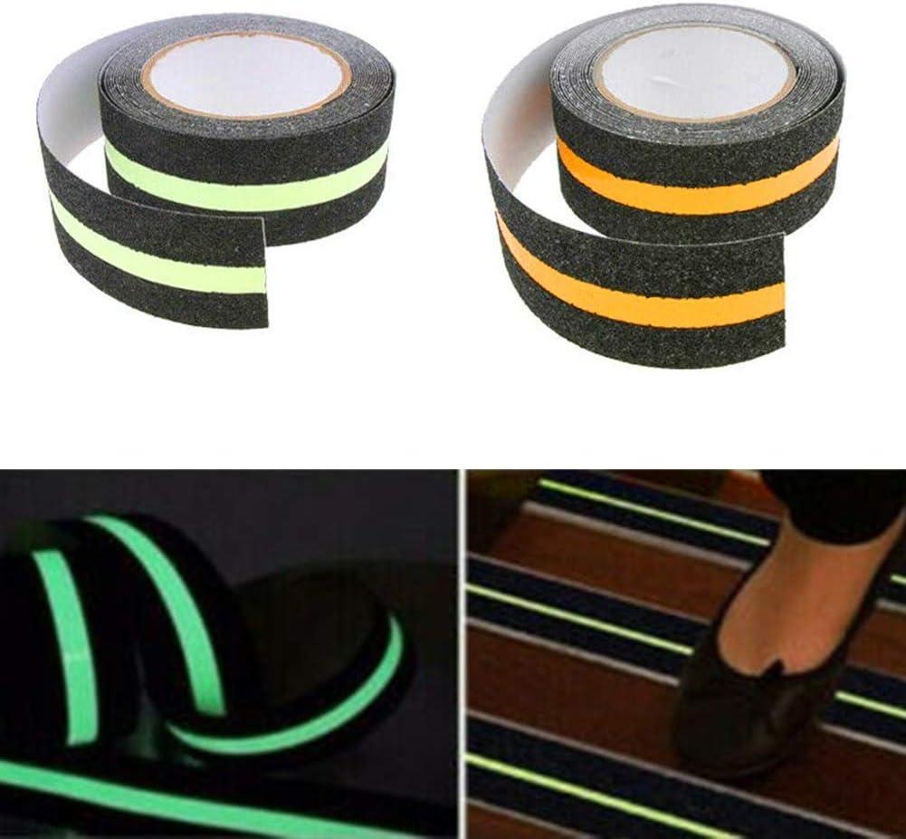 1 cinta adhesiva luminiscente de seguridad para interiores y exteriores S-Wang para escaleras escaleras 5 m brilla en la oscuridad amarillo antideslizante y abrasiva pisos
