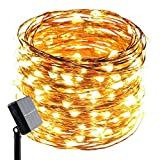 ErChen Solar Powered Copper Wire Led String Lights, 100FT 300 Leds Waterproof 8 modes Decorative Fairy Lights for Outdoor Christmas Garden Patio yard (Warm White)