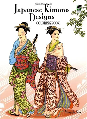 creative haven japanese kimono designs coloring book adult coloring