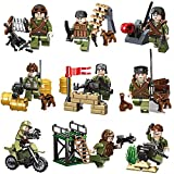 9pcs Army Minifigures with Military Weapons Accessories Interchangeble Hats Army Men Playset Building Block Toys 100% Compatible