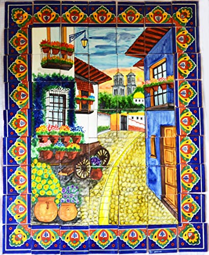 COLOR Y TRADICIÓN Mexican Talavera Mosaic Mural Tile Handmade Rustic Alley Wagon Flower Backsplash # 07