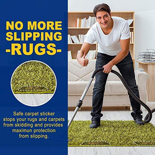 10pcs Anti Curling Rug Gripper Carpet Gripper with Renewable Gripper Tape to Keep Your Rug in Places /& Makes Corners Flat-Non Slip Rug Gripper for Bathroom Kitchen Outdoor Rug Gripper