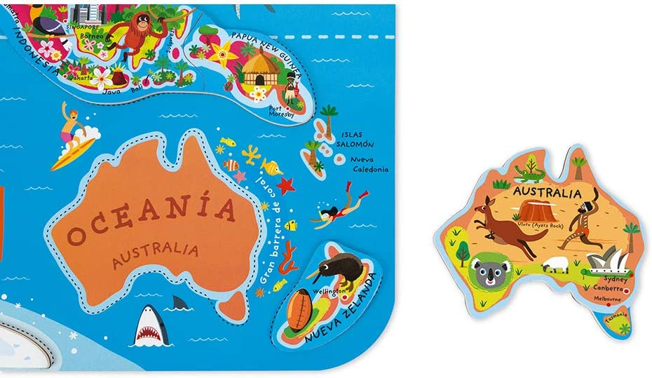 Janod - Puzzle magnético Mapa del Mundo en madera- 92 piezas magnéticas - 70 x 43 cm - Versión Española - Juego educativo a partir de 7 años, J05503: Amazon.es: Juguetes y juegos