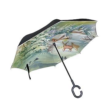 ISAOA Paraguas grande invertido paraguas reversible plegable paraguas para coche y lluvia uso al aire libre