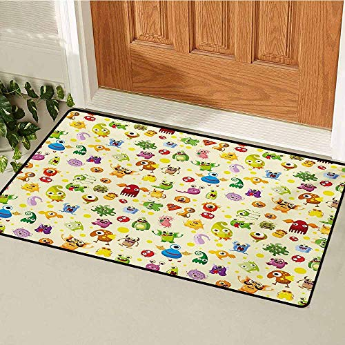 GUUVOR Kids Inlet Outdoor Door mat Drawings Different Cartoon Style Characters Cute Monsters Funny Animals and Mutants Catch dust Snow and mud W31.5 x L47.2 Inch Multicolor
