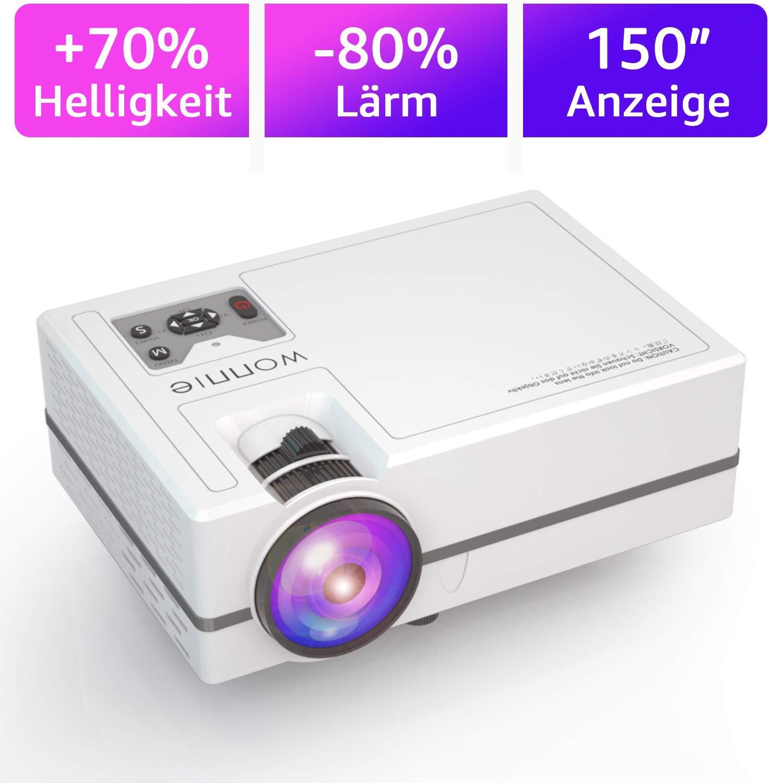 WONNIE Mini Beamer, 2200 Lumen LED Video Projektor HD Heimkino 1080P Unterstützung kompatibel iPhone / iPad / Laptop / TV-Box, Unterstützung Schnittstelle HDMI / VGA / SD / USB / AV / Ear DE-ZTY01