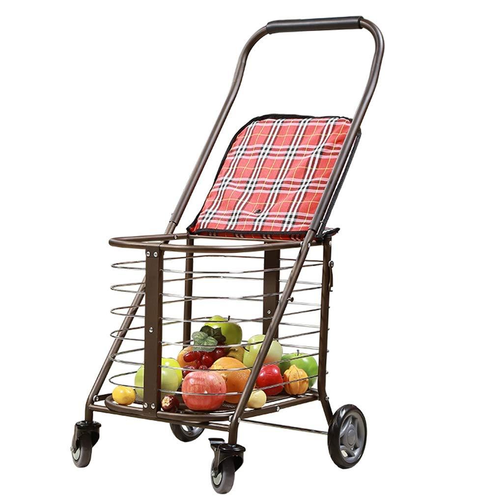 ショッピングカート老人トロリー多機能トロリー車は折りたたみ車椅子ホームウォーカーギフトを取ることができます100キログラム (Color : RED, Size : 50*65*94CM) B07SKHB35L RED 50*65*94CM