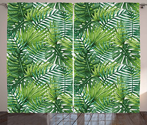 Ambesonne Leaf Curtains, Tropical Exotic Banana Forest Palm Tree Leaves Watercolor Design Image, Living Room Bedroom Window Drapes 2 Panel Set, 108 W X 63 L Inches, Green