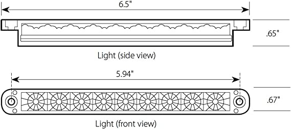 6-1//2 Flush Mount Amber 9 LED, 3 Wires GG Grand General 76140 Light Bar