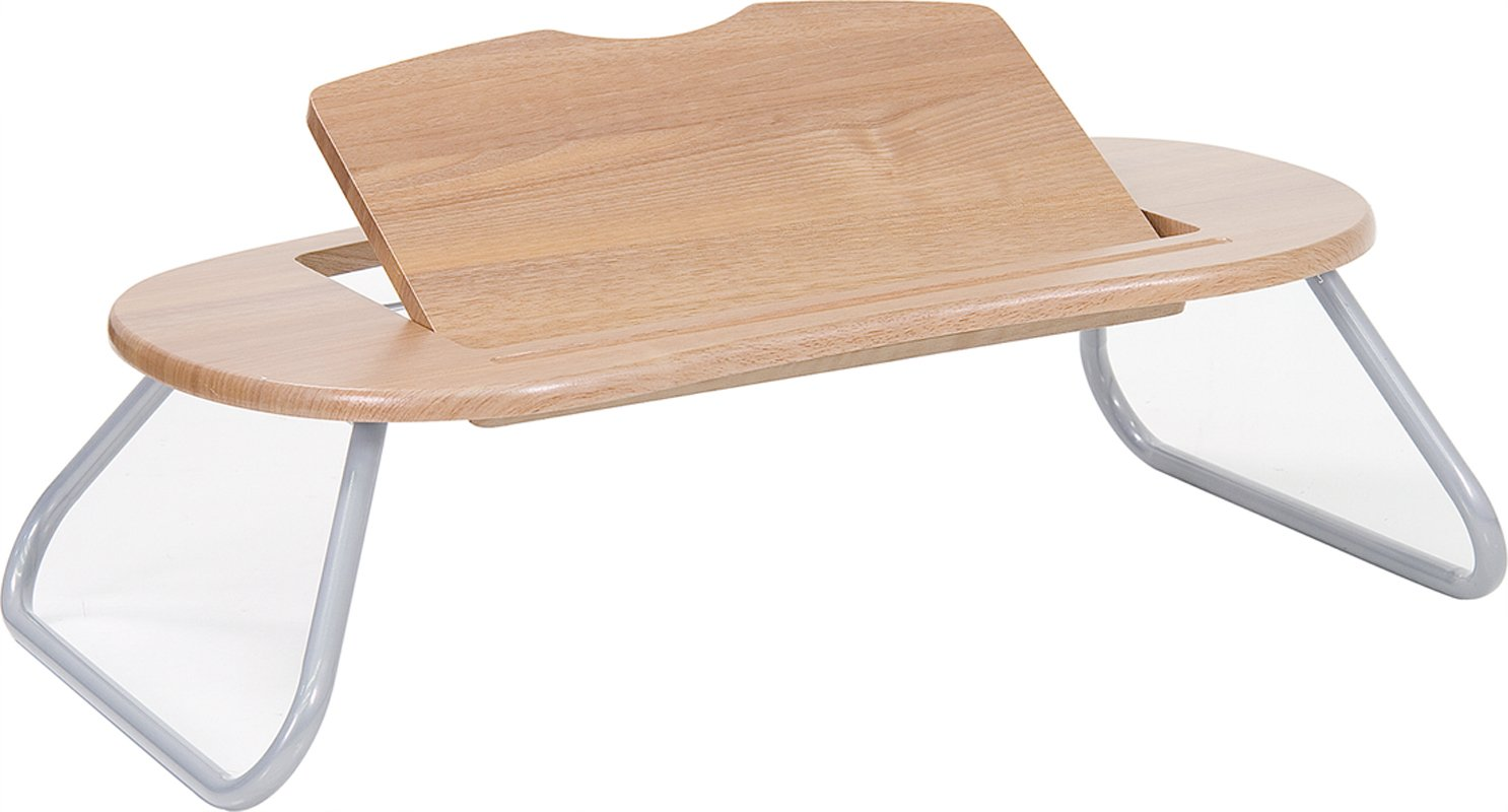 Laptop Computer Table with Dark Natural Top Angle Adjustable Desk Stand Folding