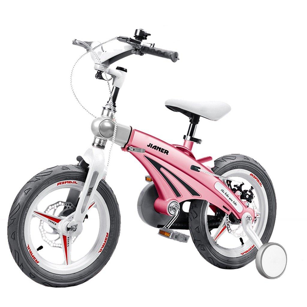 KANGR-子ども用自転車 子供の自転車適して2-3-6-8男の子と女の子幼児玩具屋外マルチカラーマウンテンバイク|折りたたみハンドルバー|調節可能な高さ| 8CMスケーラブルボディー|ダブルディスクブレーキ|トレーニングホイール付き-12 / 14/16インチ ( 色 : ピンク ぴんく , サイズ さいず : 14 inches ) B07C9SK97Q 14 inches|ピンク ぴんく ピンク ぴんく 14 inches