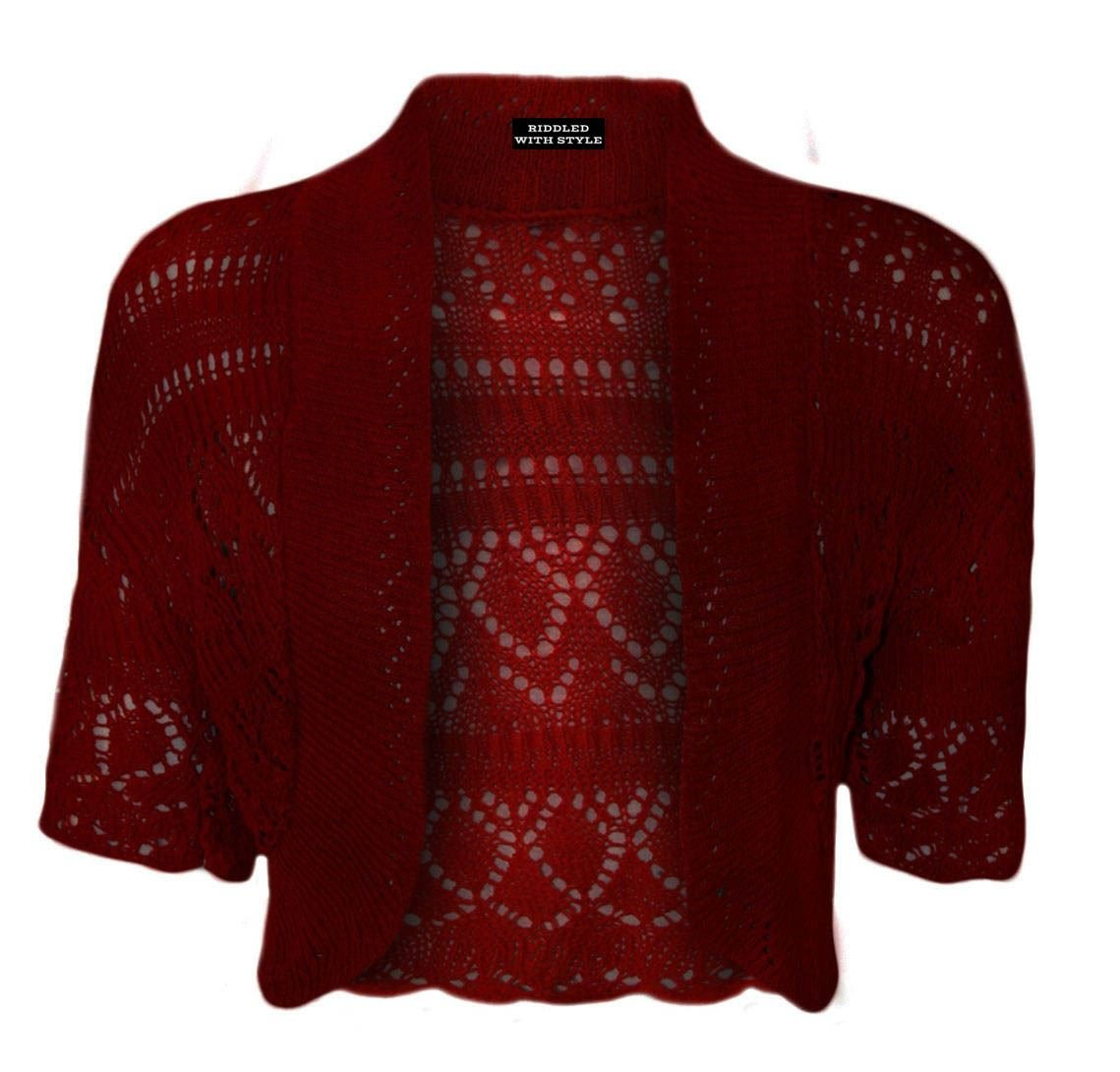 NEW LADIES PLUS SIZE KNITTED CROCHET BOLERO SHRUGS WOMENS CARDIGAN TOPS 16-26 RIDDLED WITH STYLE