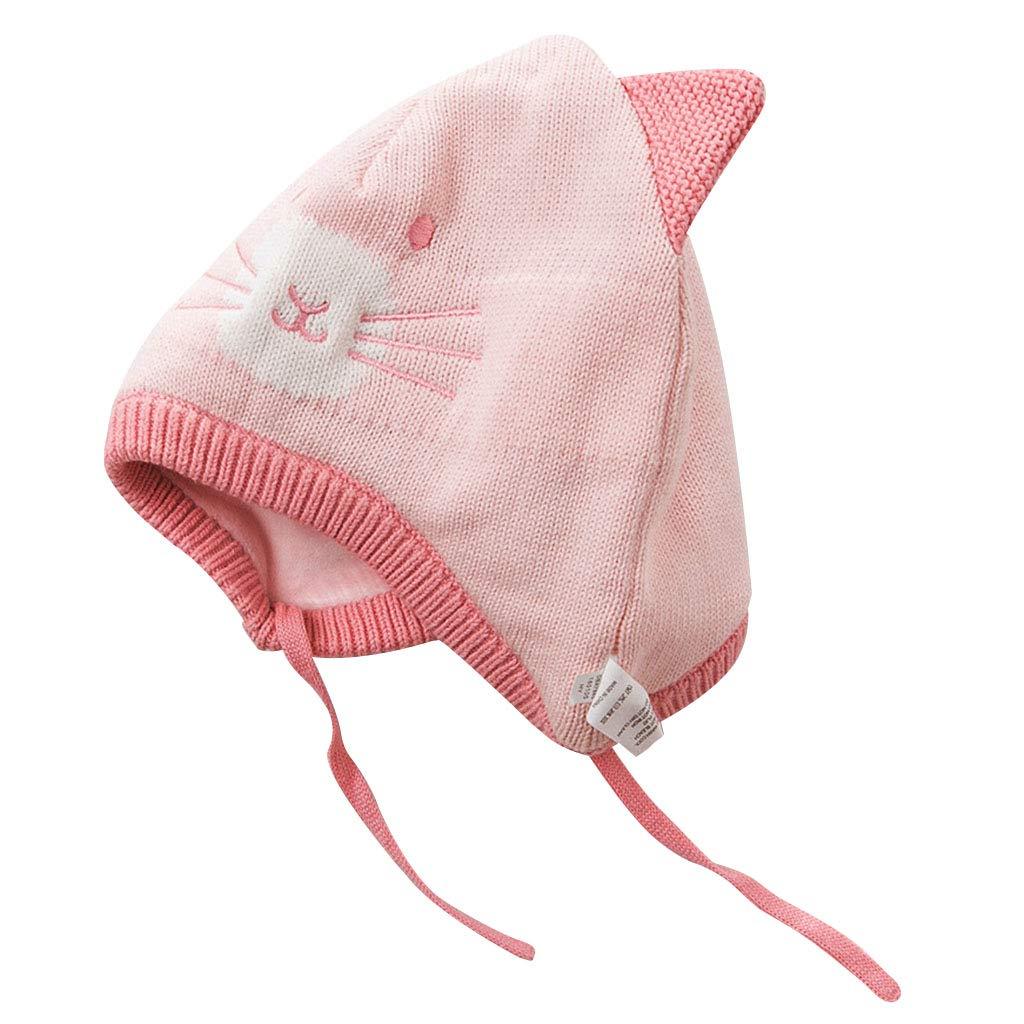 ShenZuYang Sombrero de Punto Sombrero Otoño Invierno Niños Sombrero Serie al Aire Libre 100% Material de Confort Super Linda Forma (Color : Pink, Size : 50cm)