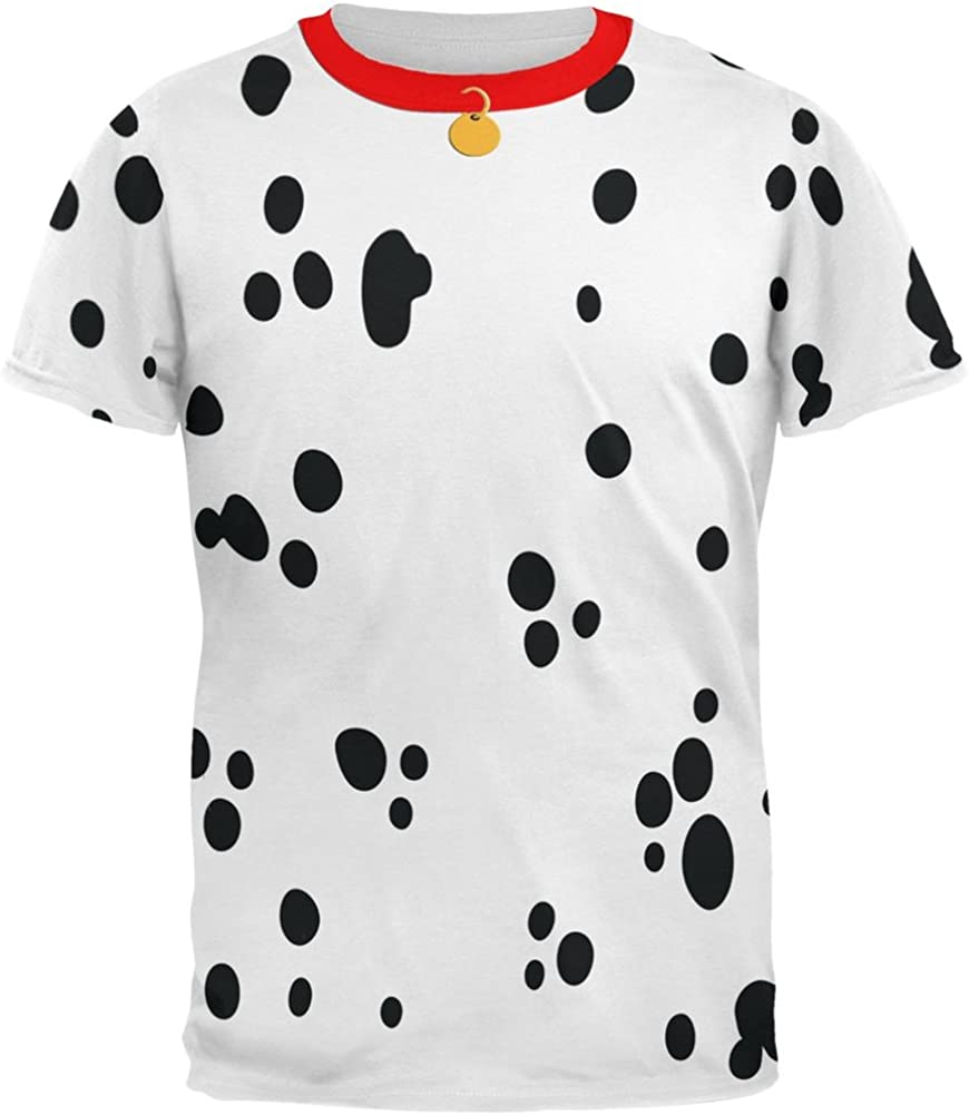Animal World Dog Dalmatian Costume Red Collar All Over Adult T-Shirt