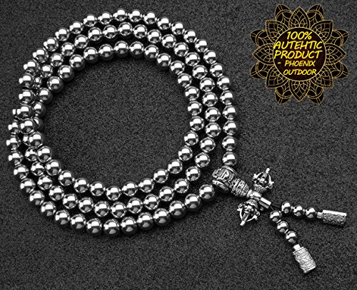 Phoenix Outdoor Self Defense 108 Buddha Beads Necklace Chain (Full Stainless Steel)