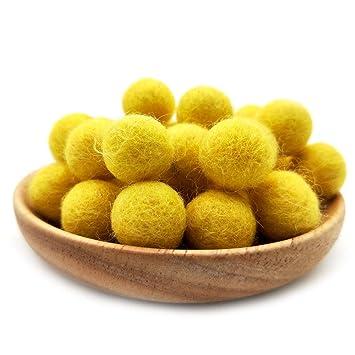 2cm Felt Balls ~ Lemon Color Felt Wool Balls Beads Pom Pom Home Decor DIY Crafts