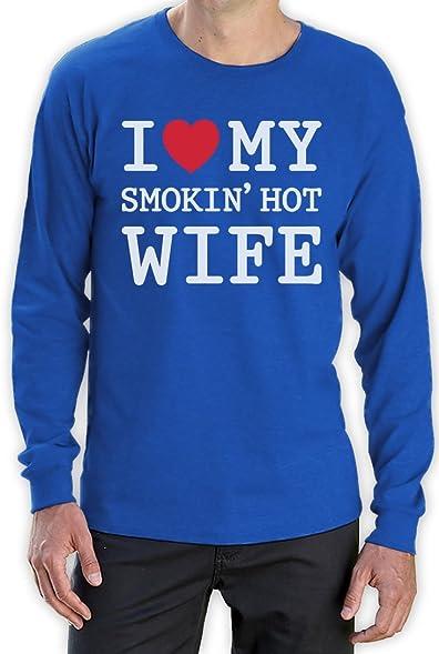 Ich liebe meine heisse Frau - Geschenk für verliebten Ihn Langarm T-Shirt  Small Blau