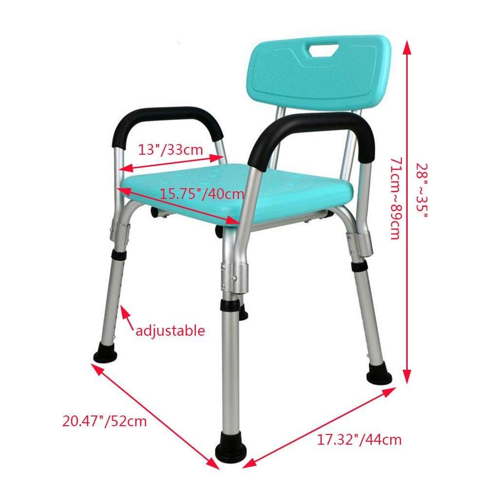 Amazon.com: TSAR003 Aluminum Alloy Bathroom Shower Chair, With ...