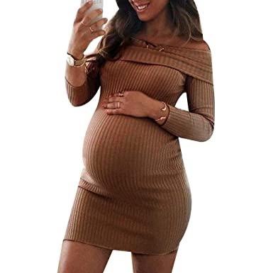 97ffc49c79f7 Rampmu Women Casual Off Shoulder Long Sleeve Solid Pregnant Dress ...