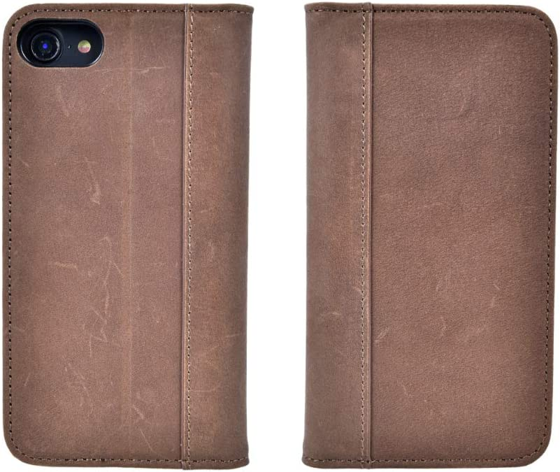 iPhone 8, iPhone 7 (Does NOT fit Plus) by Cherry Tree Leather | Genuine Top-Grain Leather Wallet Case with 4 ID or Card Slots, Stand, and Magnetic Closure | Men and Women (Natural Hand-Waxed Brown)