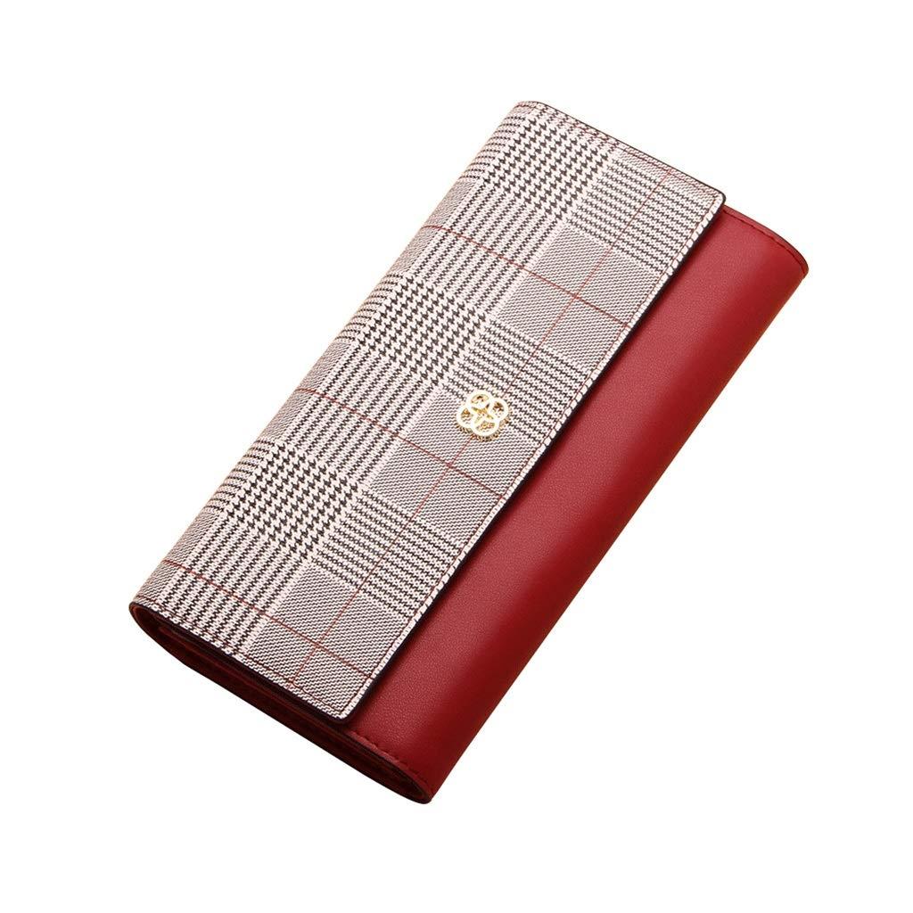 TALLA 19*10*3cm. Monederos Billetera de Mujer Larga 2018 Cuadros Rojo Caja del teléfono móvil de Cuero Hebilla multifunción Multi-Tarjeta Billetera (Color : Red, Size : 19 * 10 * 3cm)