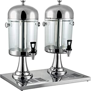 4.2 Gallon 8Lx2 Beverage Dispenser With Ice Container Fruit Infuser Stand Spigot Round Beverage Machine Hot Cold Drink Machine (Silver)