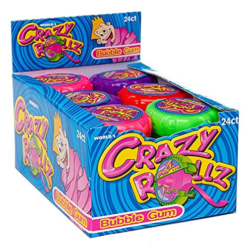- World Confections Crazy Rollz Bubble Gum Rolls (Pack of 24)