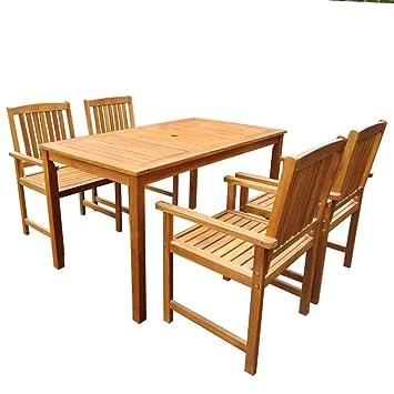 Festnight Salon de Jardin 1 Table et 4 Chaises d\'extérieur en Acacia ...