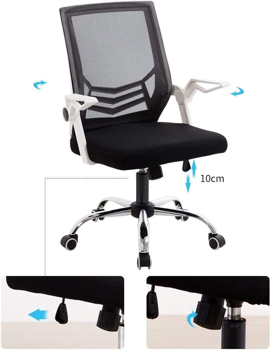 DBL justerbar justerbar svängbar kontorsstol för datorskrivbord, ergonomisk bekväm vadderad sits uppgift stol (90 ° justerbara armstöd) skrivbordsstolar (färg: svart) Vitt