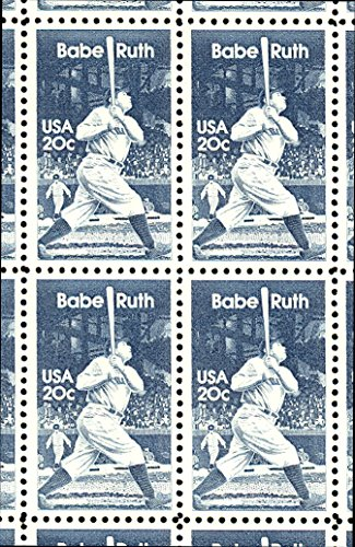 (Babe Ruth Mint 20 Cent Block of Four Stamps Scott 2046)