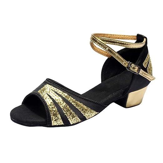 8d73d6e330d60 Warmshop Women shoes AOP❤️Women Dancing Sandals Rumba Waltz Prom Ballroom  Latin Salsa Dance Sandals US