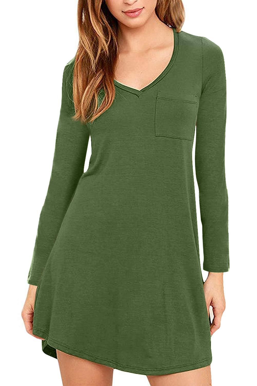 Eanklosco Vestido con Cuello en V para Mujer Columpio con Volantes Simples Manga Larga Loose Casual Llanura Camiseta Bolsillos de Vestir (Verde, XL)